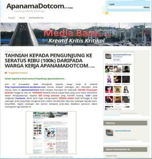 Paparan terkini ApanamDotcom bersempena sambutan pengunjung yang ke-100k