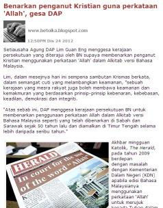 "Perutusan Sambutan Hari Natal oleh Lim Guan Eng adalah pencetus kepada polimik kalimah ""Allah"" secara nyata"