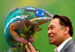 Watak sesumpah a.k.a Iguana menjadi topeng Anwar