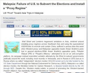 Pendedahan Tony Cartalucci berkaitan campurtangan Amerika Syarikat telah membuktikan hubungan erat PR dalam meminta sokongan AS untuk memerintah Malaysia