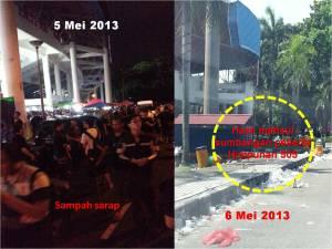 Di kala mereka (PR) bergembira dan bersuka ria, ada pihak yang terpaksa menanggung kesan perhimpunan ini
