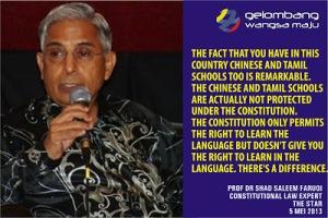 Jangan meminggirkan Bahasa Melayu yang termaktub dalam Perlembagaan Negara dengan mengangkat bahasa lain sebagai bahasa pengantar. Ia merupakan punca kepada hilangnya rasa HORMAT kepada hak-hak kaum Melayu dan Bumiputera