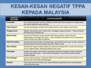 Natijah daripada persetujuan TPPA akan menimbulkan kesan negatif kepada penduduk Malaysia
