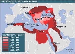 Keluasan dan kedudukan lokasi Empayar Uthmaniyah di tengah-tengah peta dunia secara tidak langsung membentuk seolah-olah sebuah bulan sabit