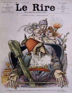 Majalah Le Rire yang diterbitkan pada 17 Oktober 1908 menyindir Sultan Abdulhamid II seperti kanak-kanak kecil yang perlu diawasi oleh pengasuh