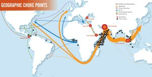 Laluan kapal perdagangan adalah sibuk di Selat Melaka menjadikan Malaysia sebagai penjaga kepada Laluan Perdagangan di antara timur dan barat