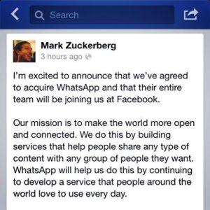 Mark Zuckerberg menggambarkan hasratnya untuk meningkatkan bilangan pengguna Facebook dan WhatsApp melalui perancangan yang strategik