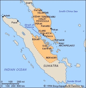 Kawasan pemeritahan Kesultanan Melayu Melaka merangkumi Semenanjung Tanah Melayu dan sebahagian kawasan Sumatera.