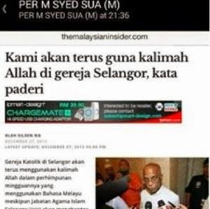 Walaupun mahkamah telah mengeluarkan arahan bahawa kalimah Allah tidak dibenarkan penggunaannya oleh orang bukan Islam, ternyata pihak Kristian tetap berdegil untuk menggunaannya