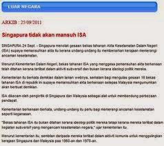 Singapura masih menggunapakai ISA yang digubal oleh British demi keamanan negaranya.  Tetapi di bawah pentadbiran Najib, ISA telah digantikan dengan SOSMA
