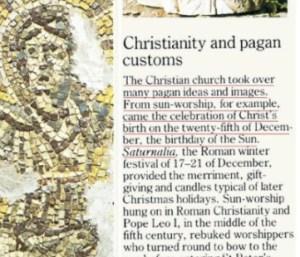 Bukti jelas yang menunjukkan sambutan Hari Natal atau Krismas berasal dari budaya Pagan.