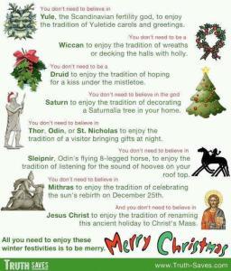 Hampir keseluruhan amalan dan kepercayaan penganut Kristian tentang sambutan Krismas adalah berasaskan kepada Doktrin Paganisme.